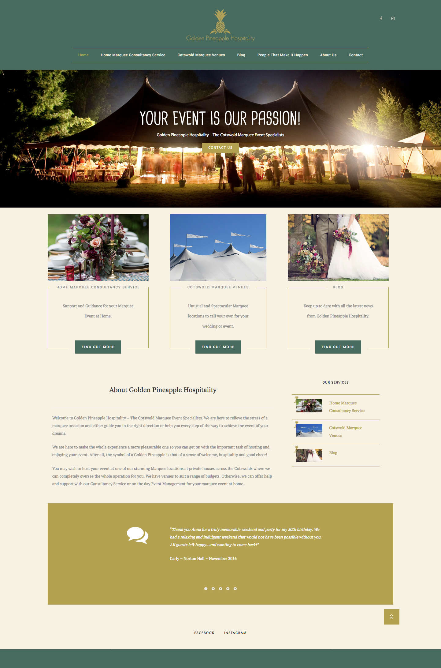 Golden Pineapple Hospitality Website